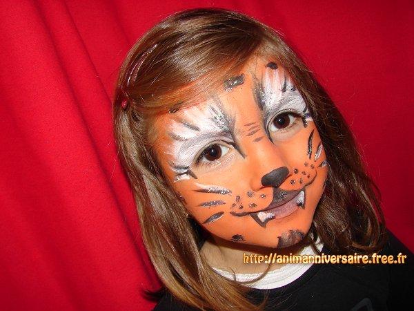 maqillage tigre modele pour fille